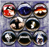 1 inch Metallica set of 8 buttons badge pins