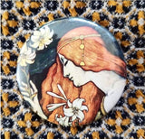 2.25 inch Red Hair Nouveau button badge pin