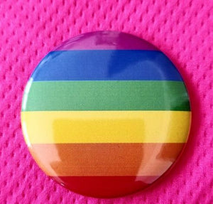 2.25 inch rainbow button badge pin