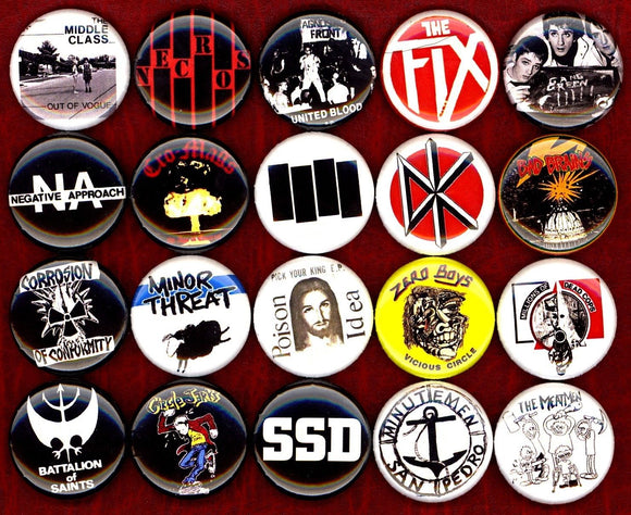 1 inch set of 20 American Hardcore buttons badges pins