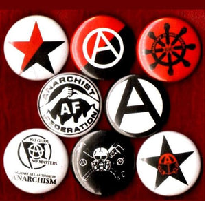 1 inch set of 8 Anarchy buttons badge pins