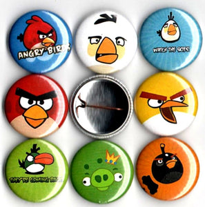 1 inch set of 8 Angry Birds buttons badges pins