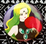 2.25 inch neon green Anime villain button badge pin