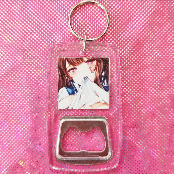 Sexy Anime clear bottle opener keychain