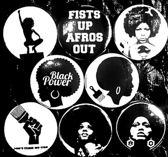 1 inch set of 8 Black Power Fist Up Afros Out buttons badges pins
