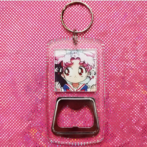 Chibiusa with Cats clear bottle opener keychain