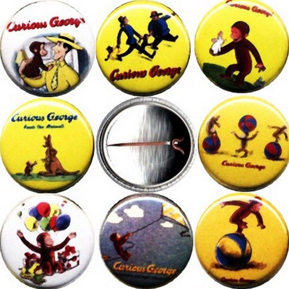 1 inch set of 8 Curious George buttons badges pins