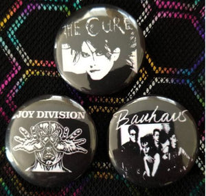 1.25 inch set of 3 Death Rock  pins