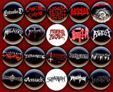 1 inch set of 20 Death Metal buttons badges pins