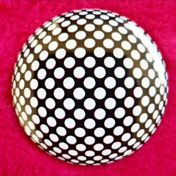 Black and White Dots button badge pin