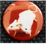 2.25 inch Double Headed White Mouse button badge pin