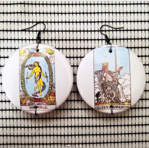 2.25 inch Tarot card large round earrings