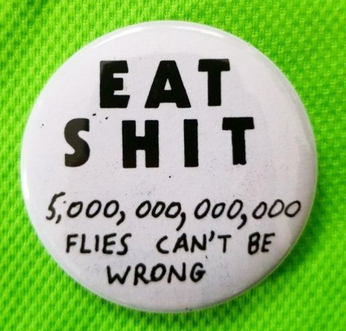 2.25 inch Eat Shit button badge pin