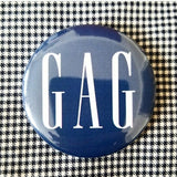 Gag button badge pin