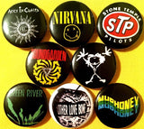 1 inch set of 8 Grunge Rock buttons badges pins