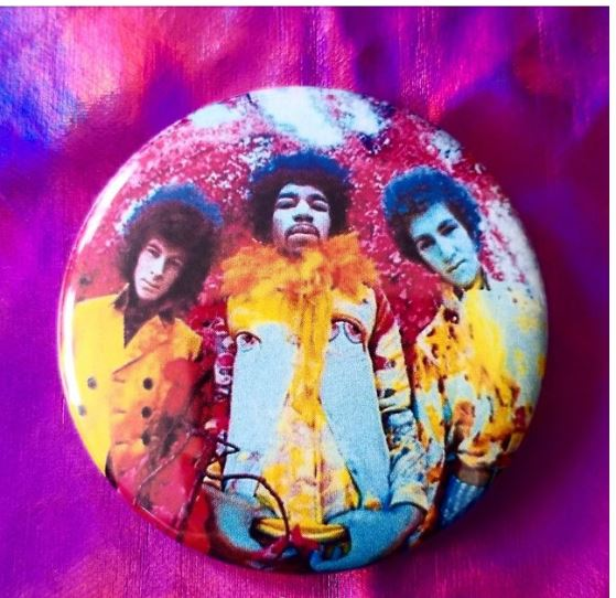 2.25 inch Jimi Hendrix button badge pin