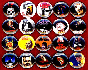 1 inch set of 20 Horror Movie buttons badges pins