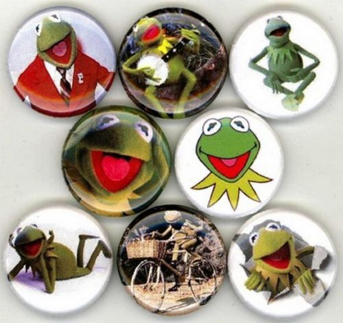 1 inch set of 8 Kermit The Frog buttons badges pins