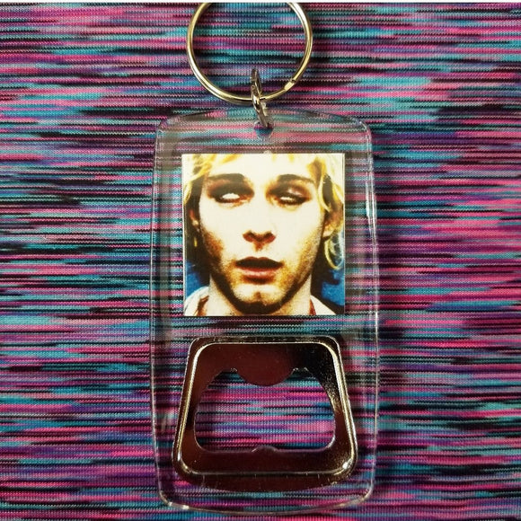 Kurt Cobain clear bottle opener keychain