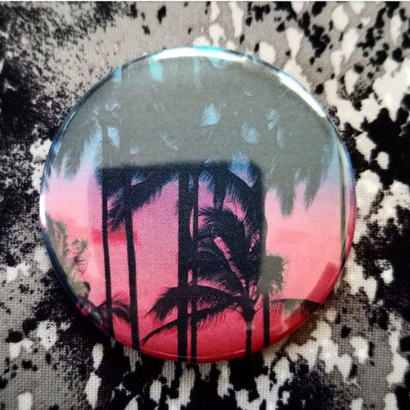 Palm Tree button badge pin
