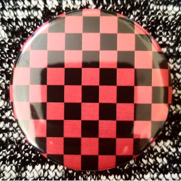 Red and Black Checkerboard button badge pin