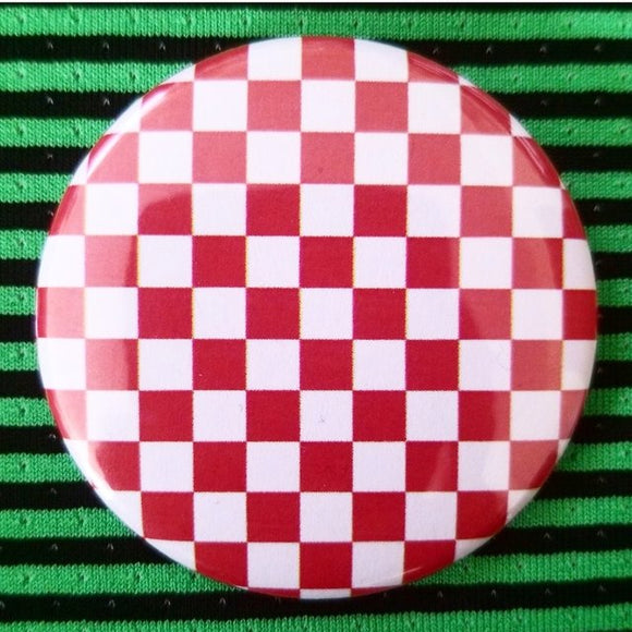 Red and White Checkerboard button badge pin