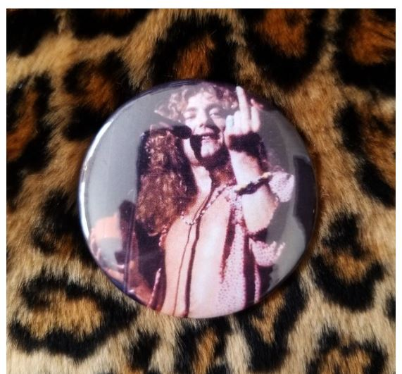 2.25 inch Robert Plant Middle Finger button badge pin