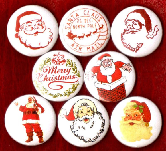 1 inch set of 8 Santa buttons badges pins