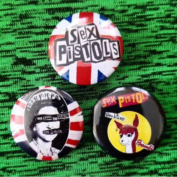 1.25 inch The Sex Pistols set of 3 pins