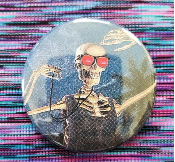 2.25 inch Cool Skeleton button badge pin