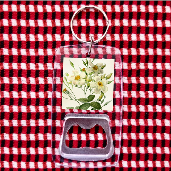 Flower daisies clear bottle opener keychain