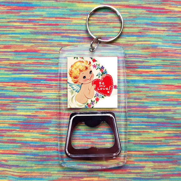 Be my love cupid clear bottle opener keychain