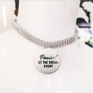 Panic at the social event silver crystal rhinestone choker necklace