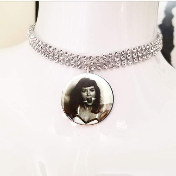 Bettie page silver crystal rhinestone choker necklace