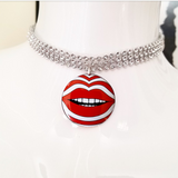 Red and white stripe lips silver crystal rhinestone choker necklace