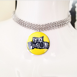 Yellow sex pistols silver crystal rhinestone choker necklace