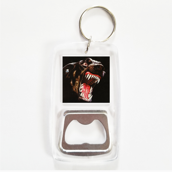 Attack dog clear bottle opener keychain
