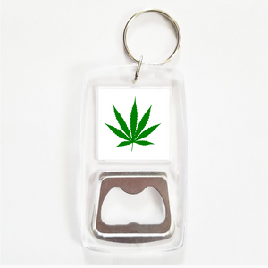 Weed leaf clear bottle opener keychain