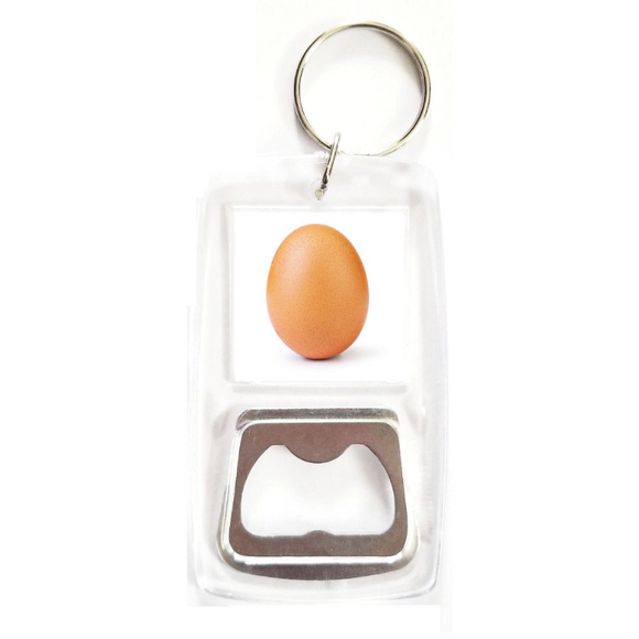 World record egg clear bottle opener keychain