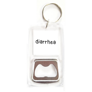 Diarrhea clear bottle opener keychain