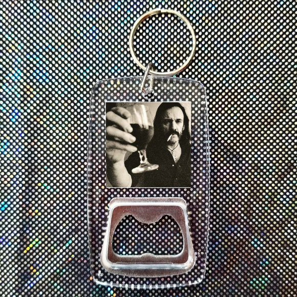 Lemmy motorhead clear bottle opener keychain
