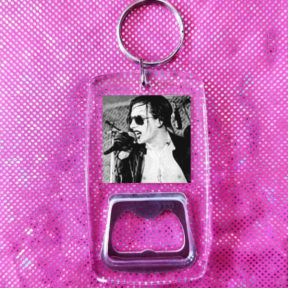 The damned clear bottle opener keychain
