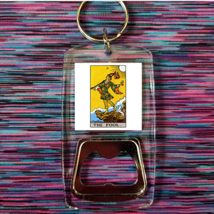 The fool tarot card clear bottle opener keychain