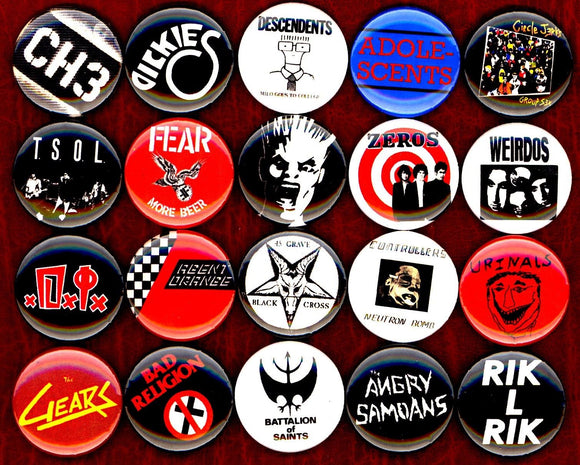 1 inch set of 20 SoCal Punk buttons badges pins