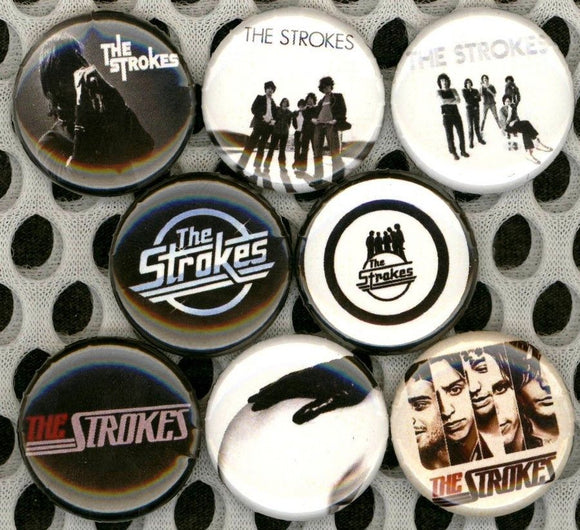 1 inch set of 8 The Strokes buttons badges pins