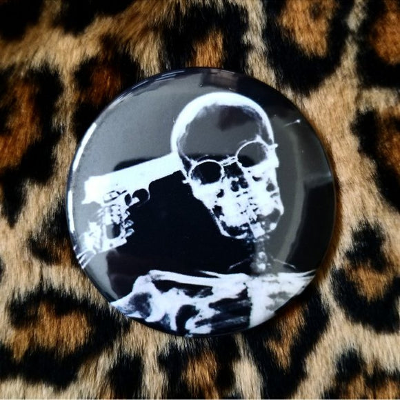 Suicide Skeleton button badge pin