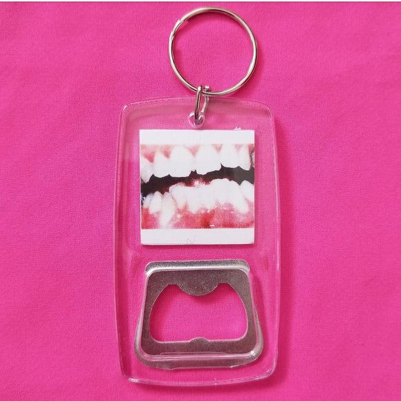 Teeth clear bottle opener keychain
