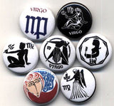 1 inch set of 7 Virgo buttons badges pins