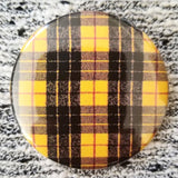 Black and Yellow Plaid button badge pin