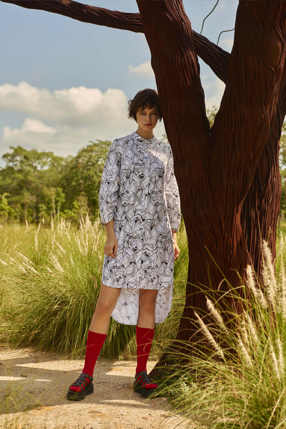 Line Shirt Dress With Puff Sleeves
